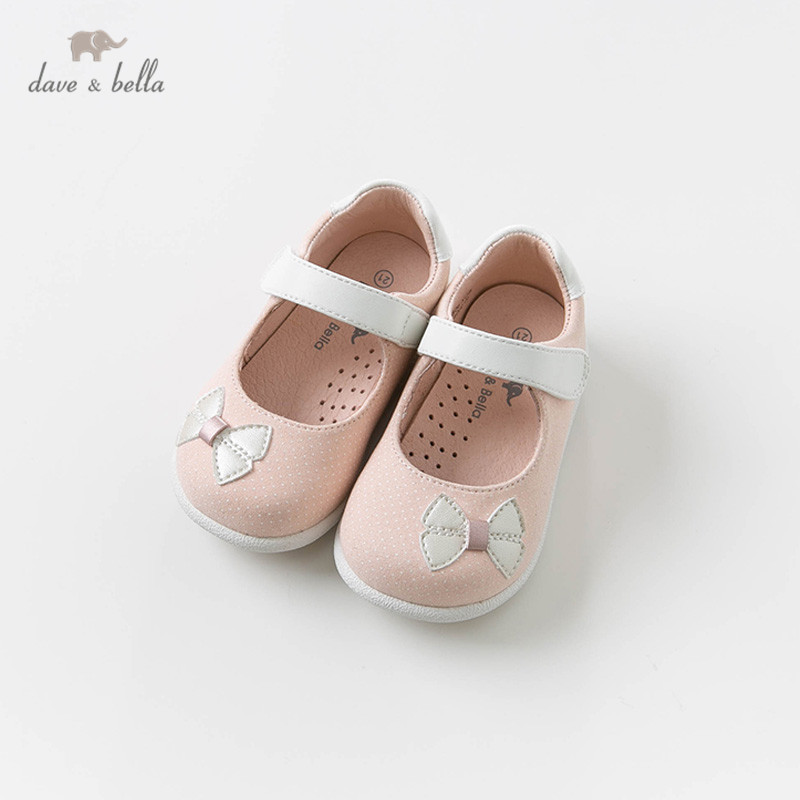 DB13738 Dave Bella Baby Girls Soft First Walkers Baby Cute Pink Bow Shoes Princess Shoes