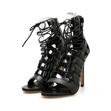 Italian Stiletto Gladiator Sandals Black Apricot Peep Toe High Heels Cross-Tied Narrow Band Ankle Strap Pumps Dress Sexy Shoes