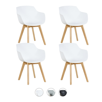 EGGREE Dining Chair Pack of 4 Plastic with Beech Solid Wood Legs for Dining room Kitchen Living Room- White Black Gray- EU Stock house bar lift chair dining room living room kitchen stool free shipping retail wholesale black orange color