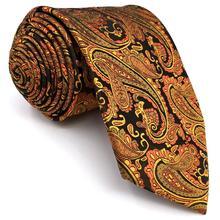 PZ21 Paisley Orange Black Mens Skinny Necktie Silk Jacquard Woven Brand New Fashion Slim