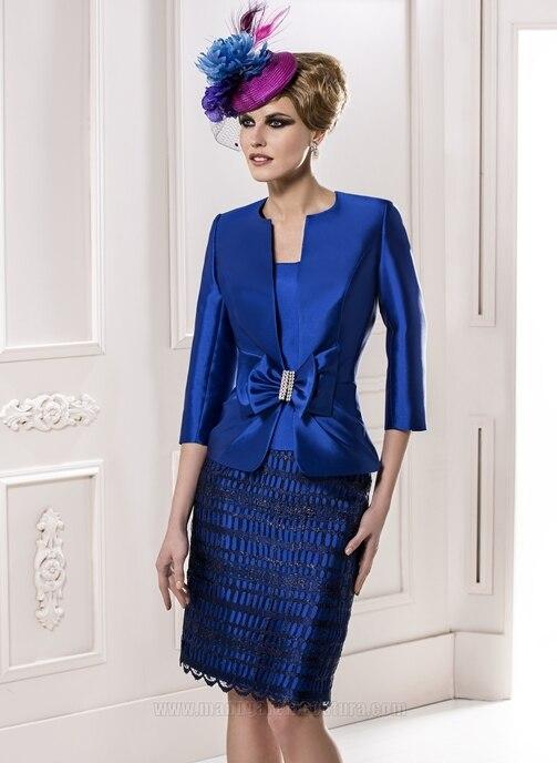 Royal Blue Knee-Length Mother Of The Bride Dresses With Jacket Short Women Dress Suits Robe Mere De La Mariee 2015 MMBD13