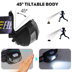 Image 5 - Mini şarj edilebilir LED far vücut hareket sensörlü LED bisiklet başkanı işık lambası açık kamp el feneri USB portu ile