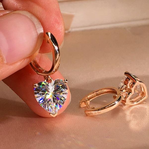 Cute Female Small 6/8mm Heart Hoop Earrings Vintage Rose Gold Wedding Earrings Jewelry Double Earrings For Women