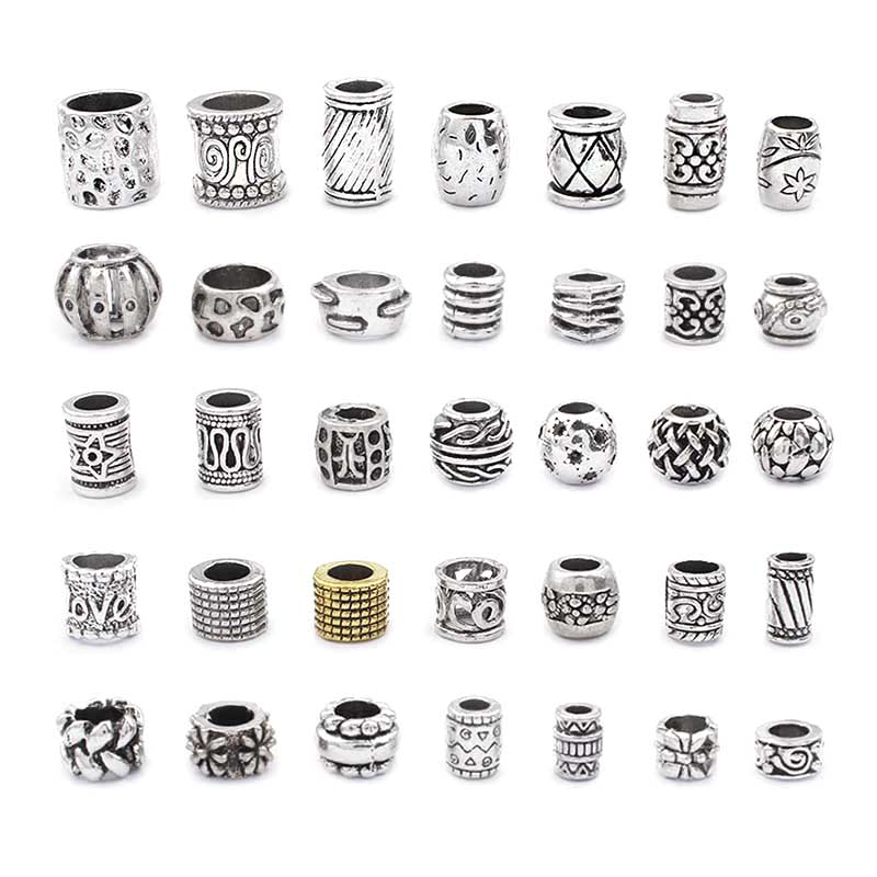 10pcs Round Spacer Tube Beads Charms Slider Big Hole 3mm 4mm 5mm 6mm 8mm 10mm For Bracelet Jewelry Findings Making