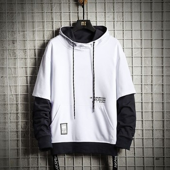 Men's Hoodies Men's New Fashion Loose Stitching Fake Two-piece Hooded Top Loose Print Hooded Sweatshirt Мужские Комплекты 1