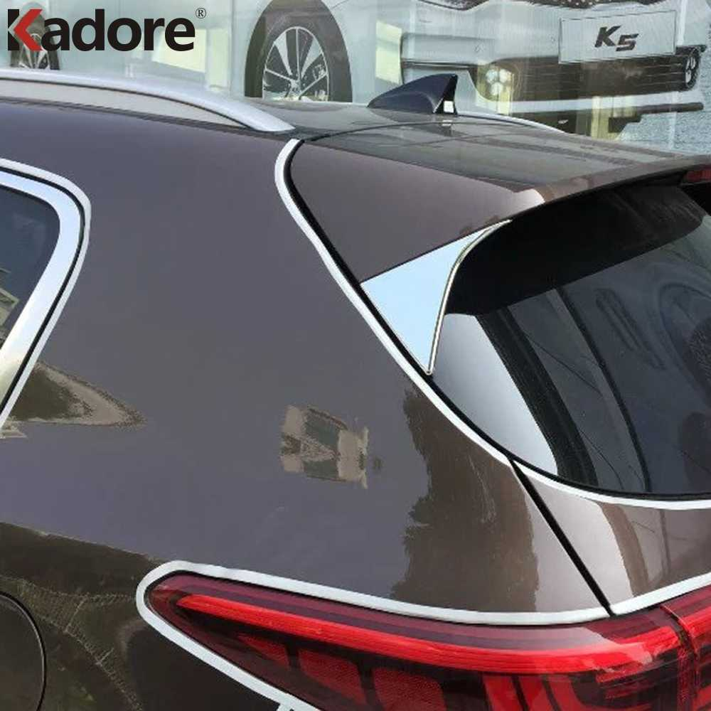 HIGH FLYING ABS Chrome Rear Trunk Spoiler Lip Side Triangle Cover Trim 2pcs Fit for Kia Sportage 2017-2018