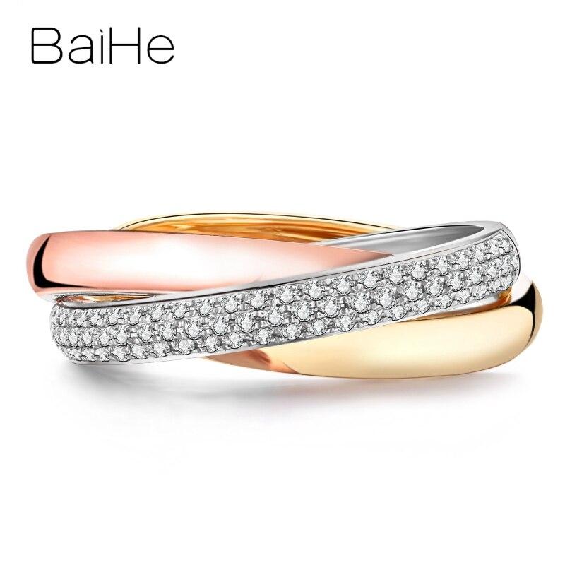 BAIHE Solid 18K White Yellow Rose Gold 0.18ct Round Natural Diamonds Women...
