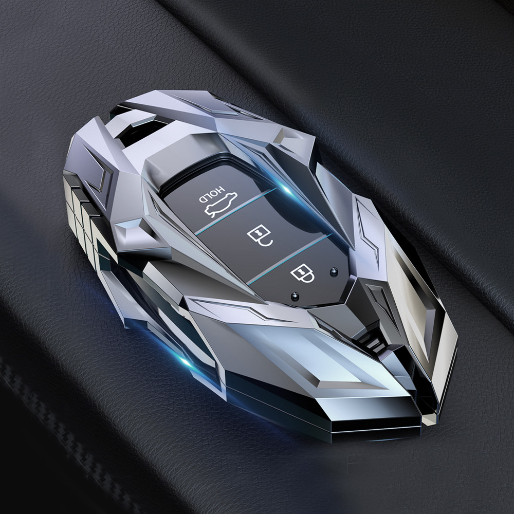 Zinc Alloy Car Key Case For Hyundai Elantra GT Kona 2018 2019 Santa Fe Veloster Smart Remote Fob Cover Protector Bag Car Styling