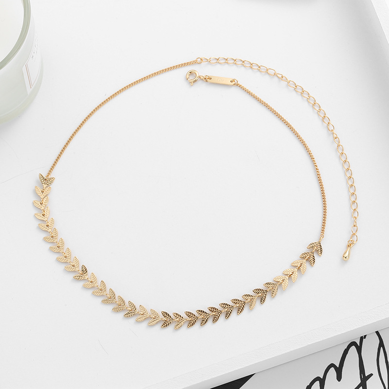 18k Gold French Style Authentic 925 Sterling Silver Champagne Gold Leaf Leaves  Short Choker Necklace Elegant Women's TLX629
