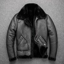 Yıl! ücretsiz kargo. b3 bombacı shearling ceket. eur boyutu klasik deri ceket, kış sıcak erkek giyim koyun derisi 2cm yün kürk