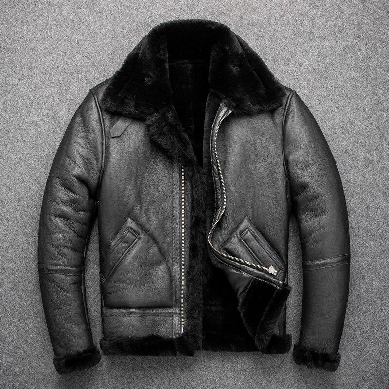 YR! Бесплатная доставка. B3 Классическая кожаная куртка бомбер. Европейский размер, Зимняя Теплая мужская верхняя одежда из овчины с шерстяным мехом 2 см Кожаные куртки      АлиЭкспресс