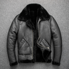 YR!Free shipping.B3 bomber shearling jacket.Eur size classic leather coat,winter