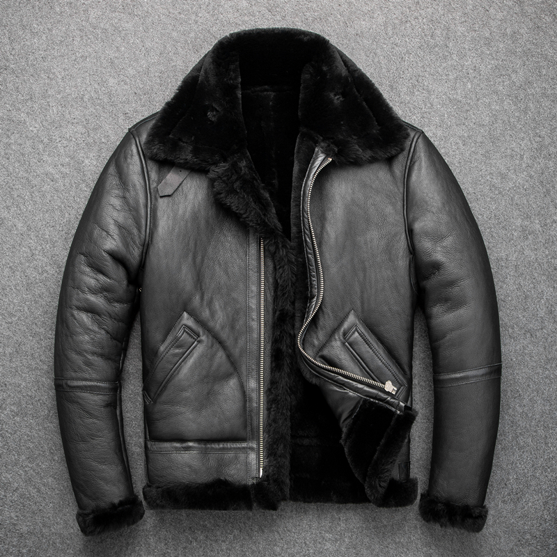 YR!Free Shipping.B3 Bomber Shearling Jacket.Eur Size Classic Leather Coat,winter Warm Mens Outwear Sheepskin With 2cm Wool Fur