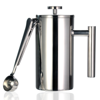Best French Press Coffee Maker - Double Wall 304 Stainless Steel - Keeps Brewed Coffee or Tea Hot-3 size with sealing clip/Spoon 1