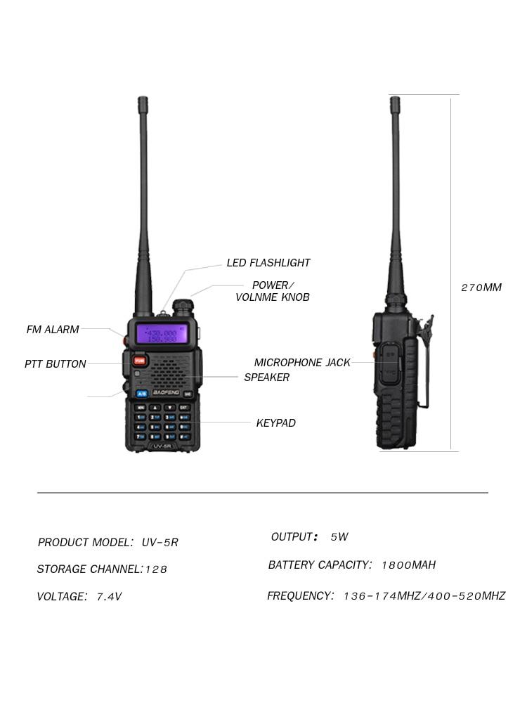 Baofeng Walkie-Talkie Dual-Band Two-Way-Radio Uv5r Portable Vhf/uhf136-174mhz 2pcs 400-520mhz