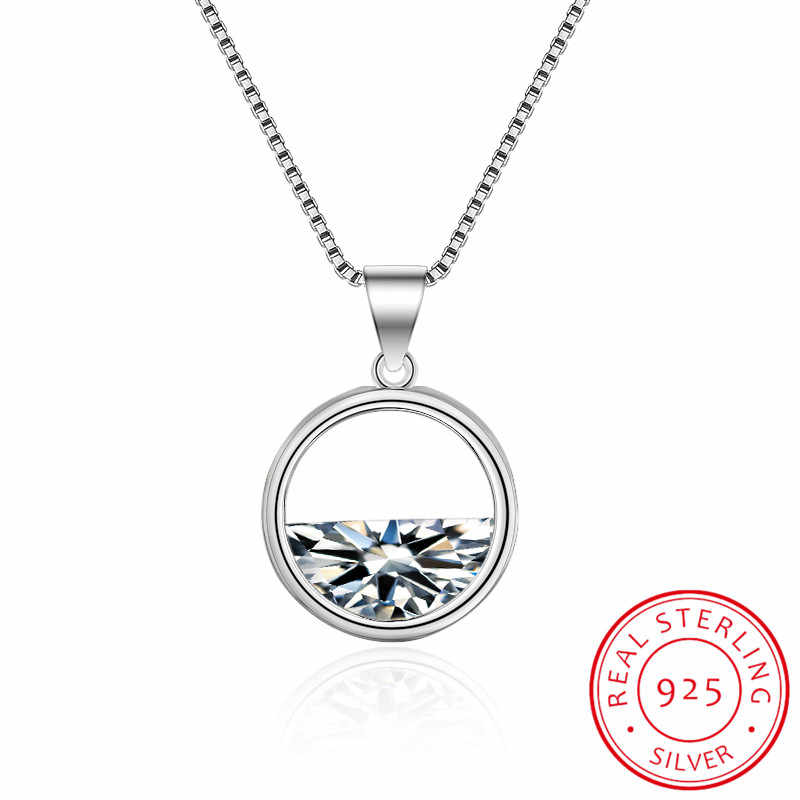 Simple 925 Sterling Silver Short Clavicle Chain Necklace Hollow Circle Dazzling Zirconia Pendant Necklace Colar Collier S-N201