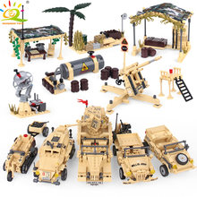HUIQIBAO TOYS Army Armor vehicle Building Blocks For Children Military Truck Motorcycle Soldier Figures Weapons Legoingly Bricks(China)