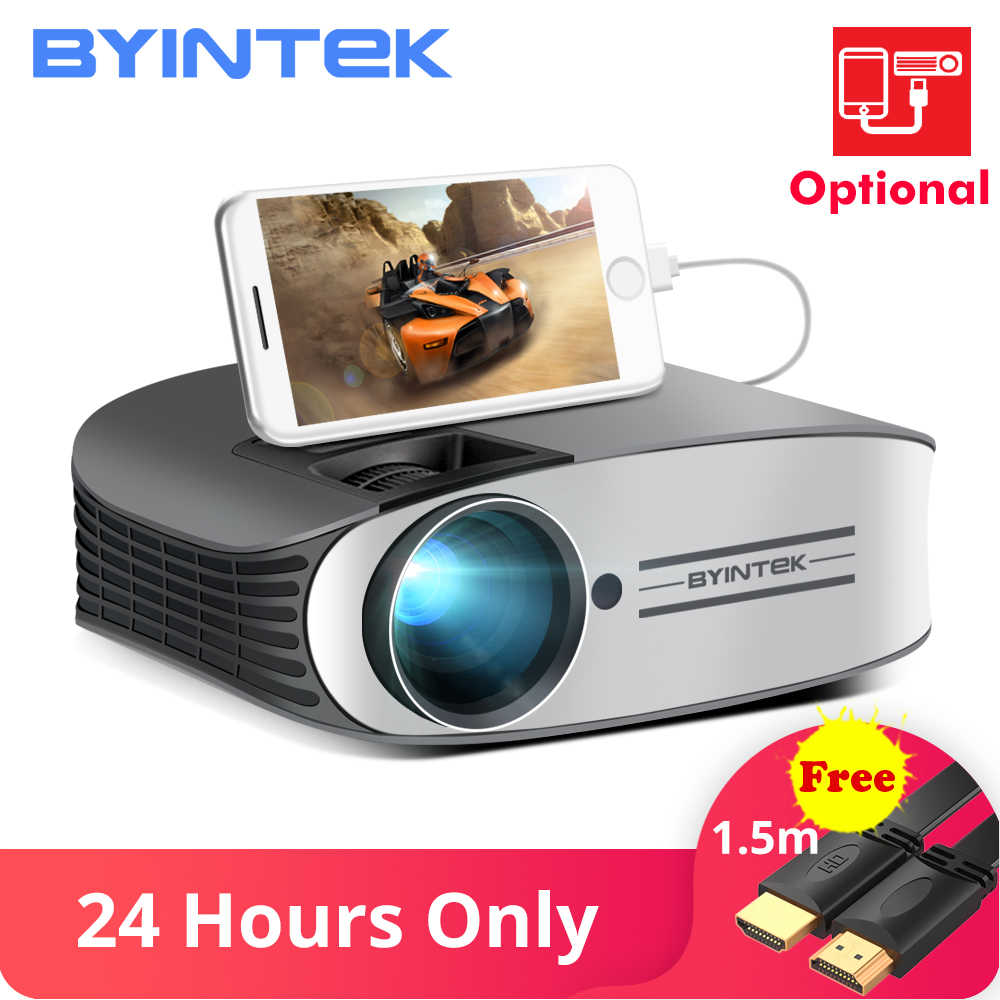 BYINTEK marca Luna M7 200 pulgadas Cine en Casa HD Video LED proyector para Iphone Smart Android Teléfono Móvil Full HD 1080P