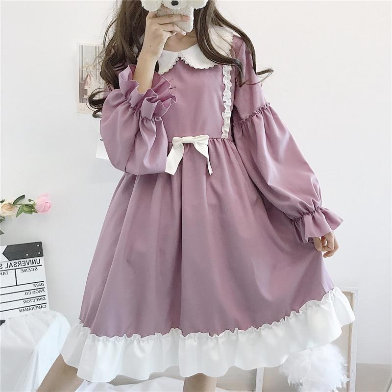 Summer Lolita Dress Daily Japanese Kawaii Girl Victorian Dress Sweet Cute Doll Collar Tea Party Gothic Lolita Tea Party Loli Cos