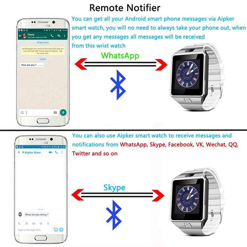 New Smart Watch DZ09 Pedometer Clock With Sim Card Slot Push Message Bluetooth Connectivity SmartWatch2020 For All smartphone 6