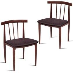 Zestaw 2 tapicerowanych tkanin krzesła do jadalni elegancka powierzchnia z drewna ziarna konstrukcja stalowa ergonomiczne oparcie miękka poduszka HW54172