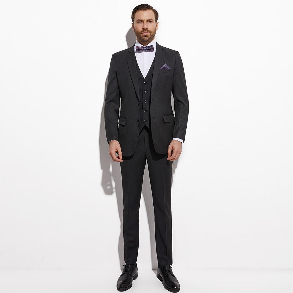 2020 Slim Fit Dark Charcoal Grey Groom Suit With Jacquard Vest Custom Made 3 piece Wedding Suits For Men  Wedding Groom Tuxedo 2