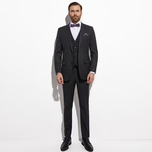 Image 2 - Traje de novio de 3 piezas con chaleco Jacquard, traje de novio de color Gris Carbón oscuro, traje de boda para hombre, esmoquin para novio de boda, 2020