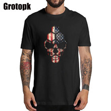 American Skull T Shirt Men Plus Size 100% Cotton Summer Tshirt Women Vintage Streetwear Tee Shirt Femme Harajuku(China)
