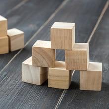 Inacabado Em Branco DIY Mini Madeira Blocos Quadrados 1/1.5/2/2.5 centímetros Cubos de Madeira Sólida para Embarcações de Madeira Crianças Brinquedo Enigma Que Faz o Material