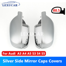 LEXUCAR Matt Chrome Car Rearview Silver Side Mirror Covers Cap S Line B8.5 B 8.5 For Audi A3 A4 A5 2011-2016 lexucar matt chrome car rearview silver side mirror covers cap s line b8 5 b 8 5 for audi a3 a4 a5 2011 2016