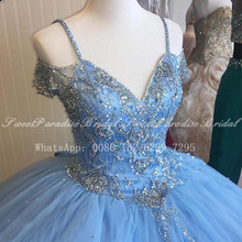 Ball-Gown Quinceanera-Dresses Prom-Dress Tulle Blue Off-Shoulder Spaghetti Long Crystal