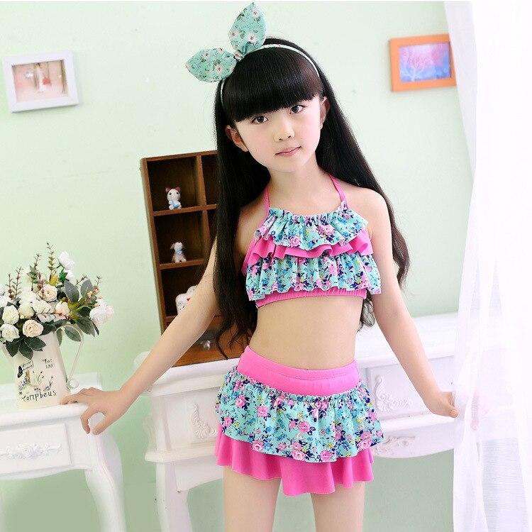 [] GIRL'S Swimsuit Size GIRL'S Split Skirt-Floral-Print CHILDREN'S Bikini Tour Bathing Suit Special Approval
