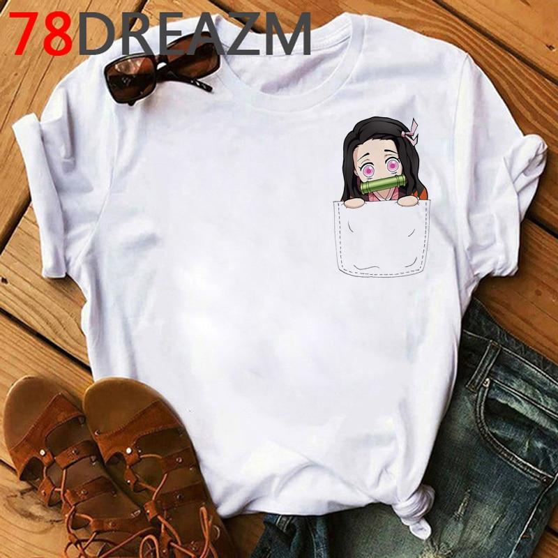 Женская футболка с героями аниме «Демон-убийца» Kawaii Kimetsu No Yaiba, футболка с героями мультфильма «Демон», летняя футболка наивысшего размера п...