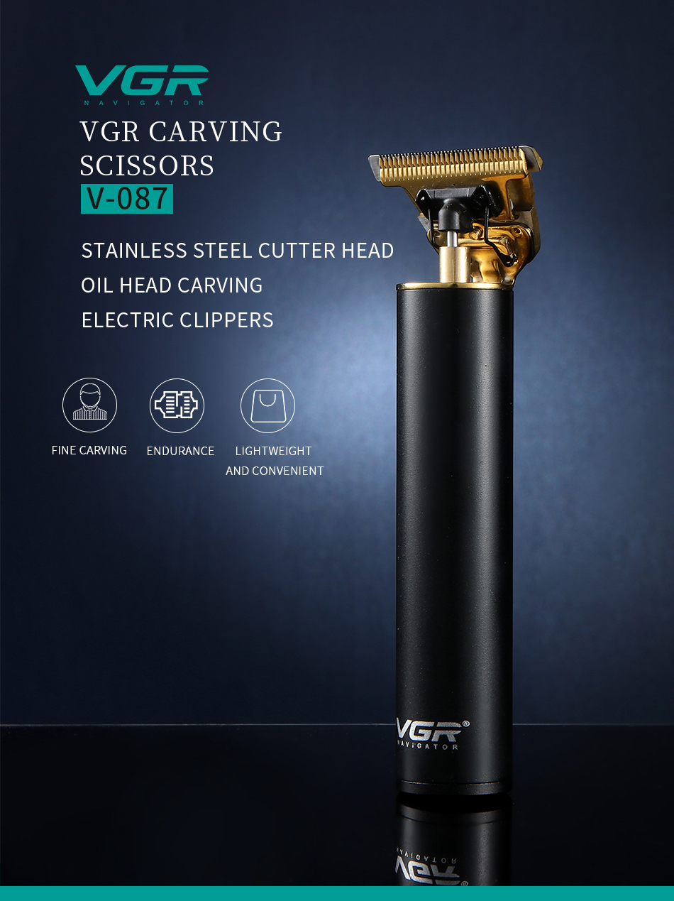 VGR 087 Electric Hair Trimmer Rechargeable Cordless For Men Beard Trimmer 0mm Baldheaded Men Cordless Cutting Machine