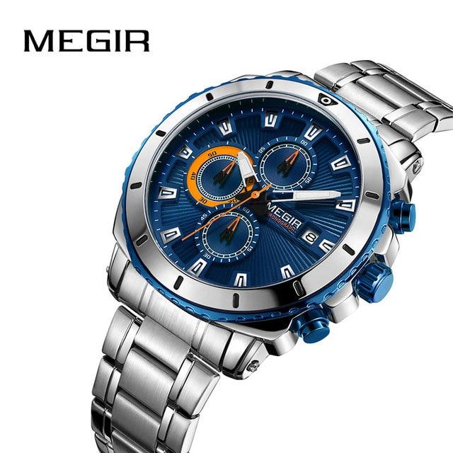 Megir 高品質メンズクロノグラフ腕時計のためのブルーステンレス鋼 Bracelete スポーツ腕時計ボーイのストップウォッチ
