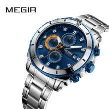 Megir Hohe Qualität Herren Chronograph Uhren für Mann männer Blau Edelstahl Bracelete Sport Armbanduhr jungen Stoppuhr