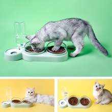 Bottle Pet-Dog-Cat-Feeder Double-Bowl Automatic Slow-Food Water-Feeding Kitten Drinking-Water