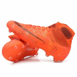 Hot Sale Mens Big Size Soccer Cleats High Ankle Football Shoes Long Spikes Outdoor Soccer Traing Boots for Men High Ankle