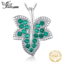 JewelryPalace Pendant Silver Women Necklace Milgrain Maple leaf Nano Russian Simulated Emerald Lady Party Not Include A Chain недорого