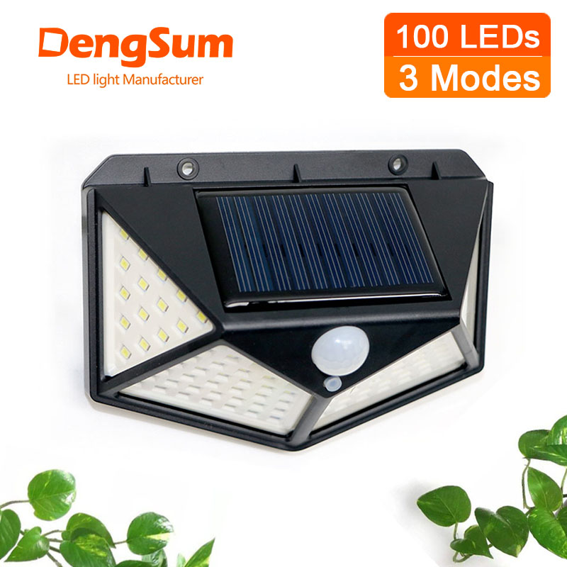 4 sides 100LEDs 3 modes glow PIR motion sensor solar wall light garden solar energy lamp always on at night outdoor street lamp