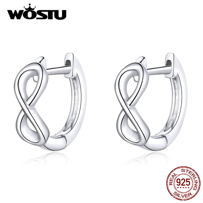 WOSTU 2019 New 100% Real 925 Sterling Silver Infinite Love Stud Earrings For Women Making Silver Earrings Gift CQE743