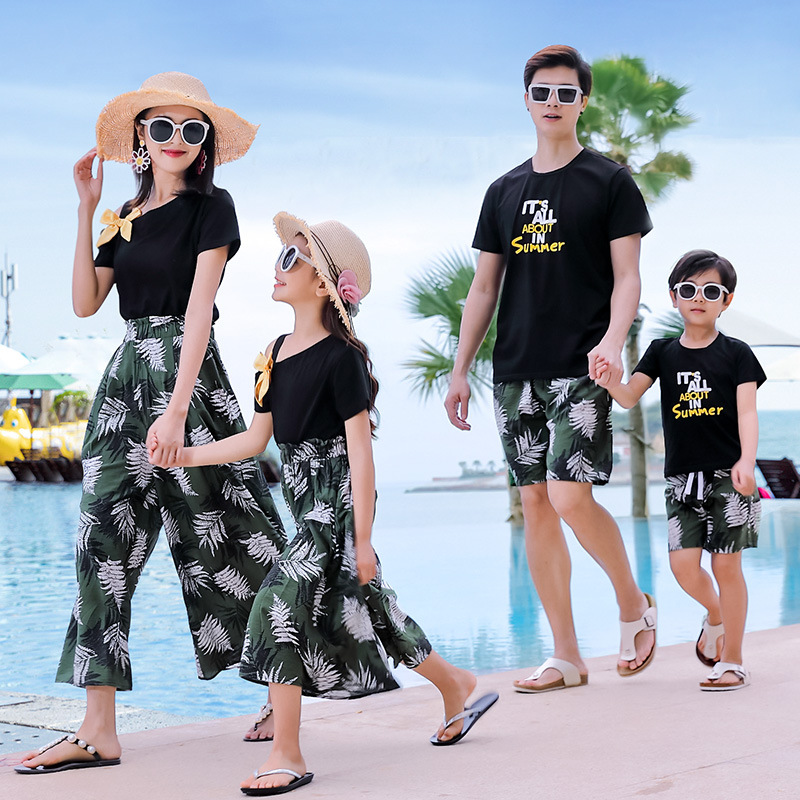 H2d76f3f8ecc04a0182f8a77c2b2d6d7f6 - Matching Family Outfits Summer Mum Daughter Dad Son Cotton T-shirt +Pants Holiday Seaside Beach Couples Matching Clothing