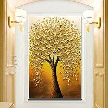 Pintados à mão faca 3d pintura da árvore de ouro moderno pinturas abstratas pintura a óleo sobre tela decoração para casa luxo