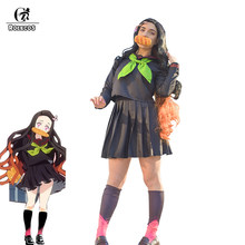 ROLECOS Anime démon tueur Cosplay uniforme Kamado Nezuko Cosplay Costume Kimetsu no Yaiba Cosplay robe femmes école tenue Costume(China)