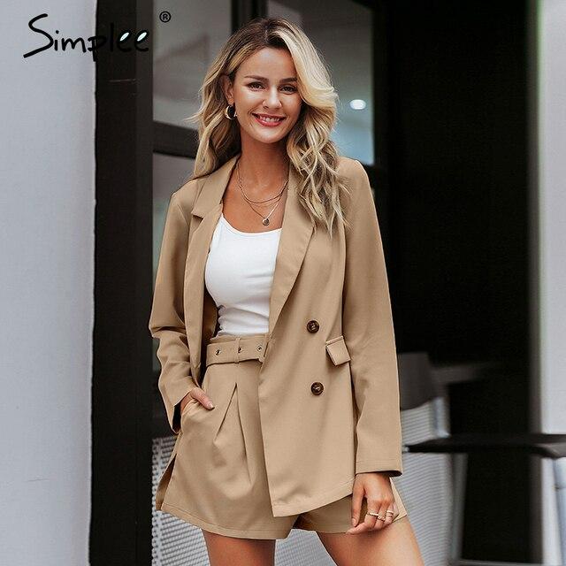 Simplee terno curto elegante, duas peças, casual, streetwear, conjuntos de blazer feminino, chique, 2019, para escritório traje de terno
