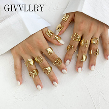 A to Z Letter Gold Metal Opening Ring Initial Name Alphabet Female Adjustable Rings Women Personalized Custom Party Jewelry Gift vintage adjustable a z letter metal ring female jewelry gothic charm gold ring fashion opening wedding band rings for women girl