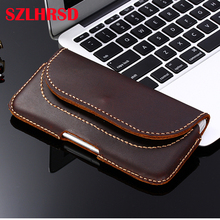 SZLHRSD Vintage Belt Clip Phone Bag for Xiaomi Mi Max 3 Pro 6.99inch Case Genuine Leather Holster for Xiaomi Redmi 5 Plus