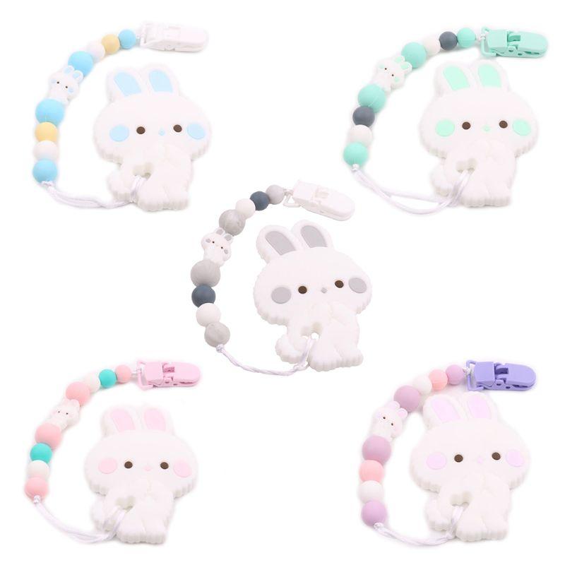 2 pçs/set novo dos desenhos animados recém-nascidos chupeta cadeia bebê silicone mamilo clipe bonito coelho modelagem infantil mordedor conjunto