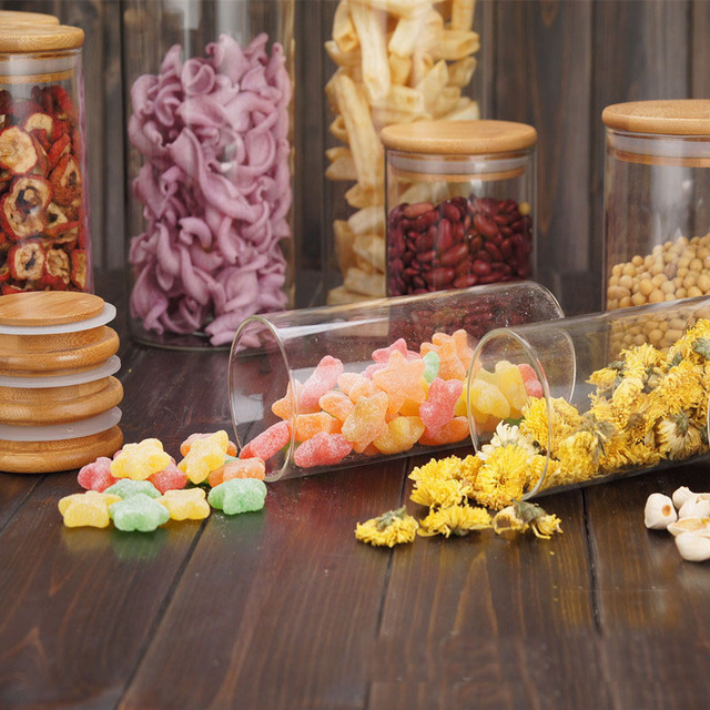 Food Storage Glass Jar No Lead  Kitchen Storage Bottles Sealed Cans with Cover Large Capacity  Candy Glass Jars Tea Box H10560 5