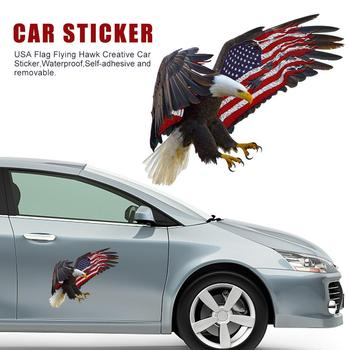 USA Flag Eagle Sticker Car American Flag Bald Eagle Flying Hawk Sticker Waterproof Fade-resistant Waterproof Falcon Sticker image